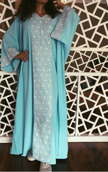 Picture of Turquoise Abaya with islamic pattern on sleeves and on collar