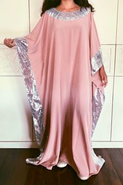 Picture of Dusky pink abaya with sparkling beads on collar ands on sleeves