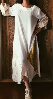 Picture of Offwhite dress with sequin and islamic detail