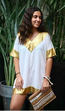 Picture of White dress with gold paillettes