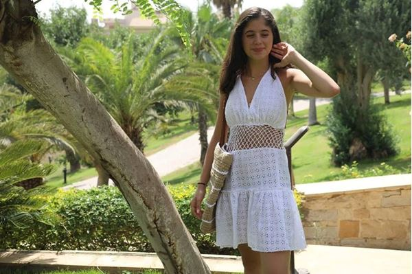 Picture of Breezy Halter dress with mesh accents
