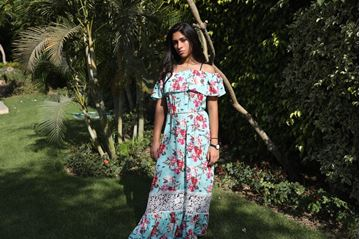 Picture of Floral peasant maxi dress with lace inserts