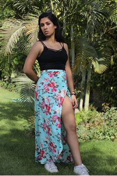 Picture of Maxi floral peasant skirt..