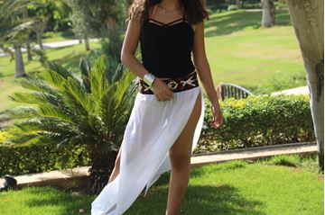 Picture of Maxi skirt with full length slits and Bedouin details on waist