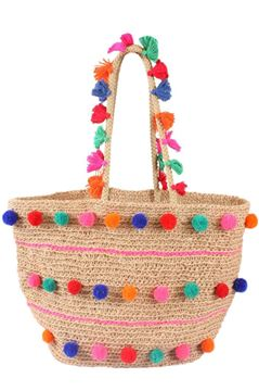 Picture of Handmade pompoms and fringes basket will accommodate all your beach essentials...