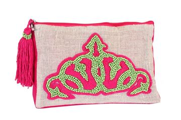 Picture of Zip it linen clutch with an embroidered lime and fuchsia crown L 19 * w 28 cm