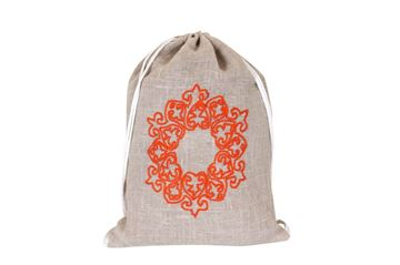 Picture of Mushreq embroidery in orange on a linen backpack...L 52 * w 40