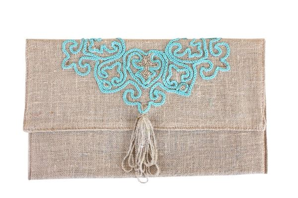 Picture of Flower of life linen clutch in aqua L 17 * w 29