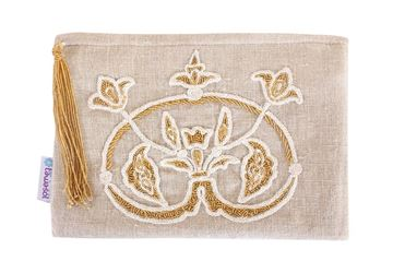 Picture of Blooming Lotus embroidery on linen clutch L 21 * w 25 cm