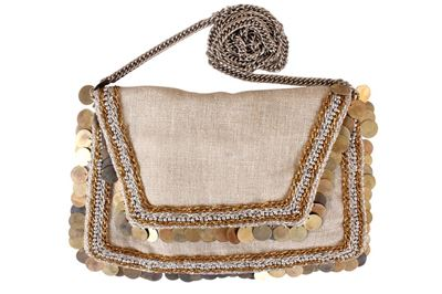 Picture of The jazzy shoulder bag features soft linen coupled with coins and beads.