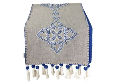 Picture of Arabesque table runner with royal blue embroidery..