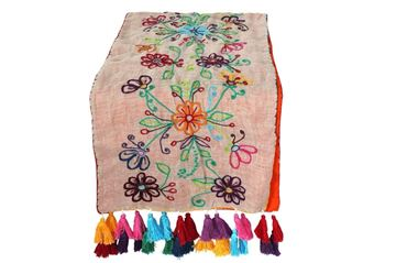 Picture of Color explosion blossoming table runner with multi colored tassels..