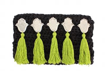 Picture of Embellished clutch in balck with kaffs and green tassels L 18 * W 31 cm