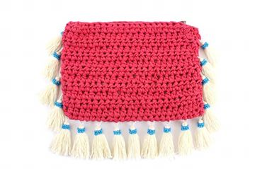 Picture of Clutch with tassels in fuchsia. L 20 * W 29