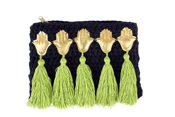 Picture of Embellished clutch in balck with copper kaffs and green tassels. L 18 * W 31 cm