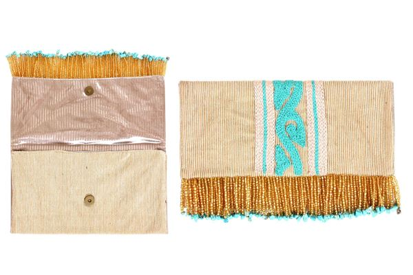 Picture of Lightweight linen clutches with vibrant colored details with aqua. The beaded fringes add a popular touch of style.