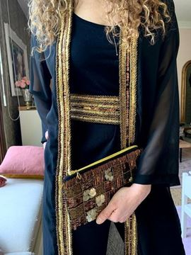 Picture of Black Chiffon Kaftan with gold beads and coins