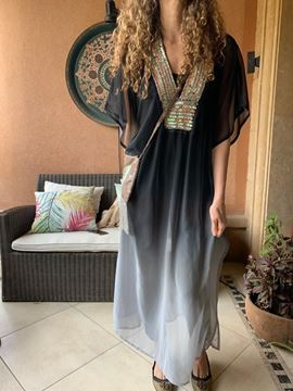Picture of Black to grey ombré galabaya with colorful sequins