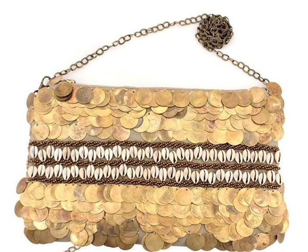 Picture of Gunny thread and cloth bag with copper coins , shells and beads L 20 * w 28 cm