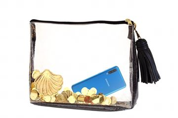 Picture of black and gold transparent clutch with golden sequence.   21*28