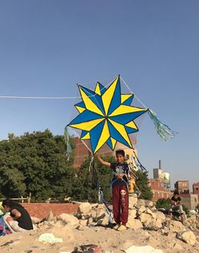 Picture of  1.5m painted Stella star kite with light and 7m tail long, 130m rope.