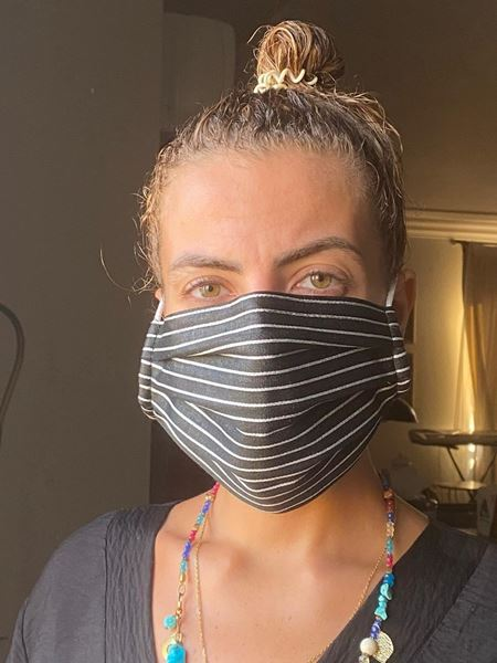 Picture of Silver striped mask in black for adults. Our masks are composed of 3 layers including a filter and a nose support