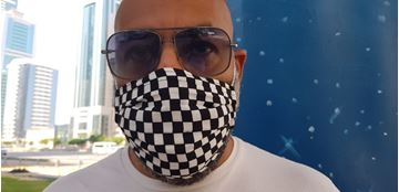 Picture of Checkered Mask, 3 layers including a filter & nose support.