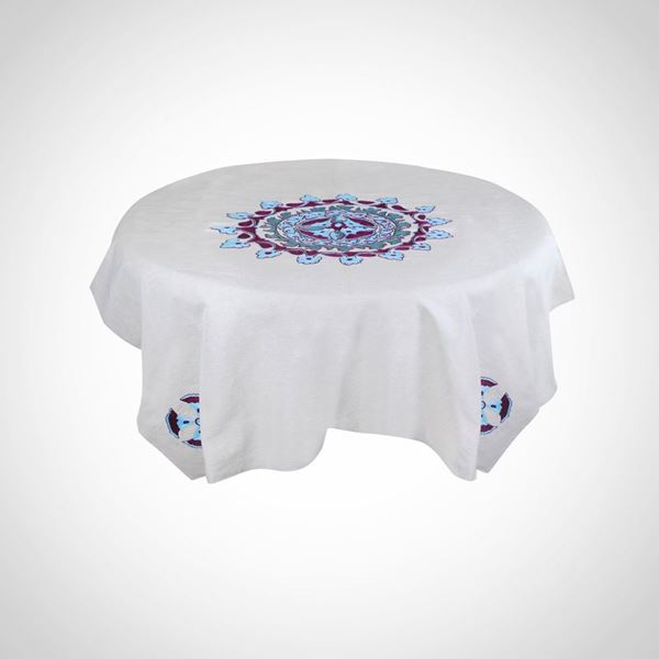 Picture of Hand embroidered linen 'Lotus Flower' tablecloth
