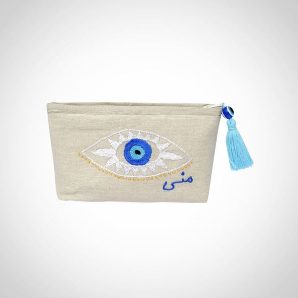 Picture of Small laminated inside plastic pouch with 'Eye' design and custom embroidered name