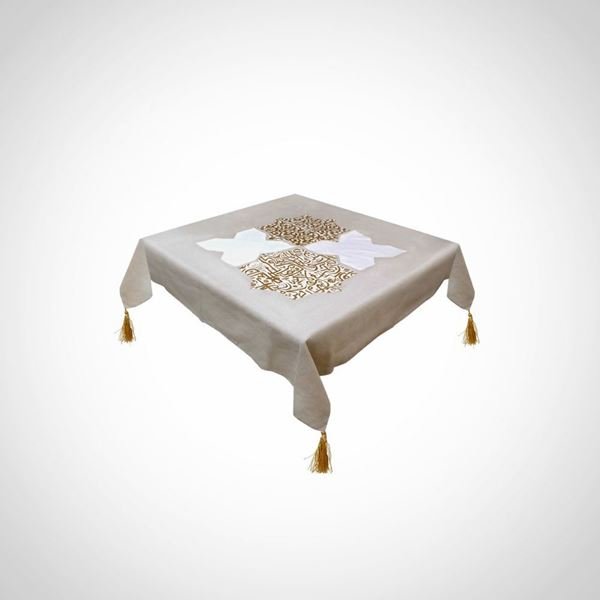 Picture of Golden Calligraphy Stars Linen tablecloth
