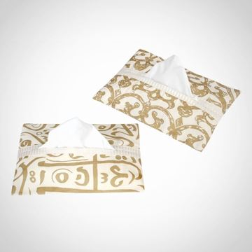 Picture of Golden Calligraphy and Chain tissue box