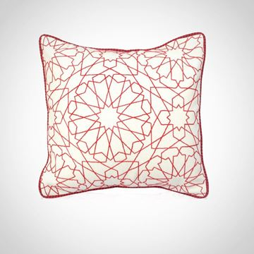 Picture of Arabe design cushion square shaped in white with red, Size: 41x41cm