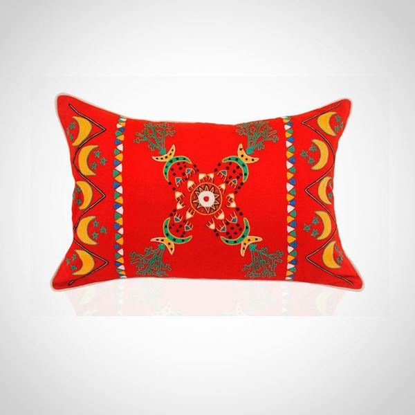 Picture of Red Nubian Folklore Embroidered Cushion .  Size 40*60cm