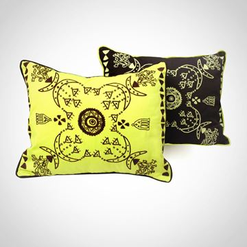 Picture of Rectangular shape Nubian cushion, in brown with green apple Size: 55x45cm