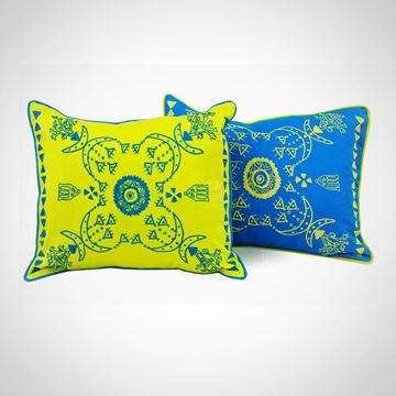 Picture of Rectangular shape Nubian cushion, in green apple with blue, Size: 55x45cm