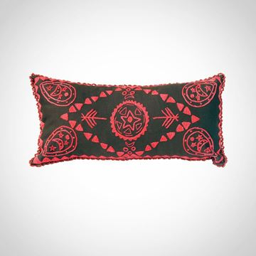 Picture of Oval earring design cushion with beads frame (brown with red), Size: 48x24cm