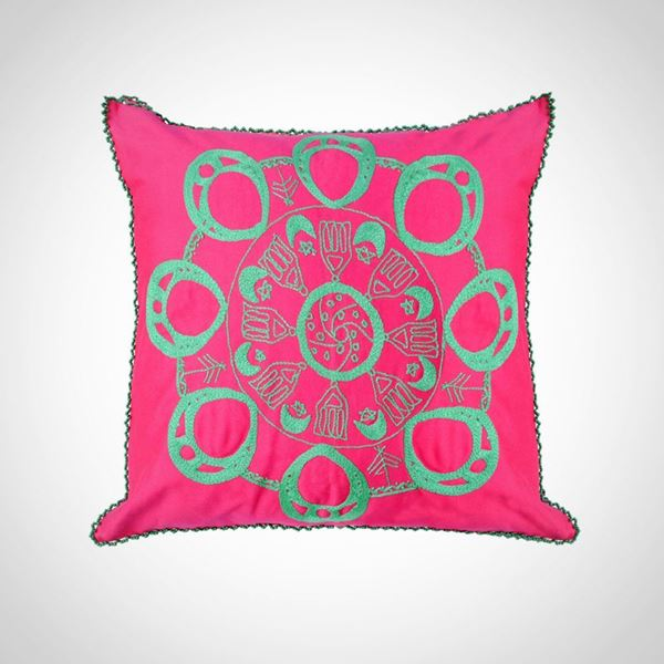 Picture of Circular Nubian earring design cushion with beads frame - in one color (hot pink with green) Size: 55x55cm