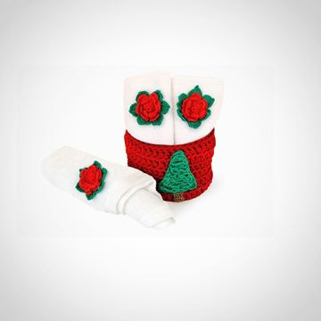 Picture of Christmas towel holder + 3 towels