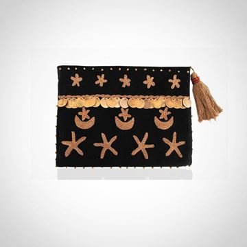 Picture of Crescent & star pouch, in black with Cafe L 22 * W 28 cm