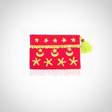 Picture of Crescent & star pouch, in hot pink with green apple L 22 * W 28 cm