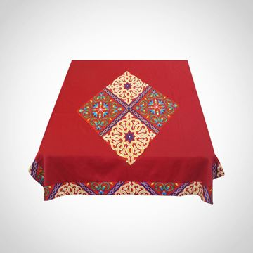 Picture of 'Mosaic' pattern tablecloth in red with colourful Khayameya inset and border 1.5x2m
