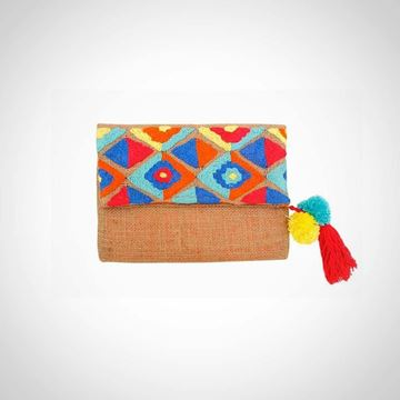 Picture of Patterned Siwa weaved clutch L 20 * W 26