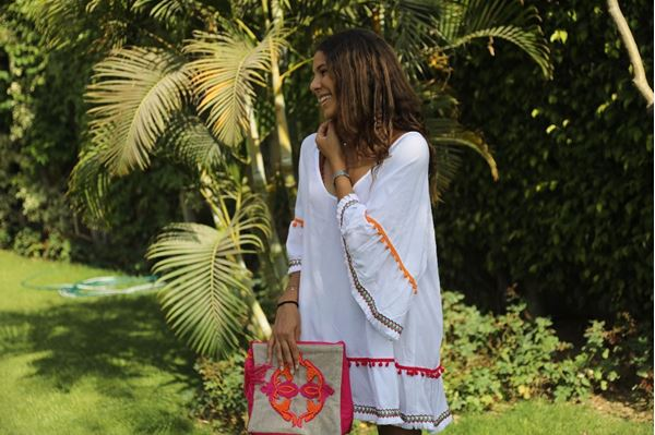 Picture of Brisk white dress with vibrant colorful accents
