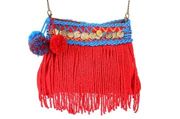 Picture of Beaded waterfall fringe messenger's bag in red L 24 * W 22 cm