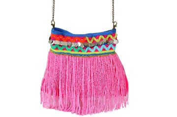 Picture of Beaded waterfall fringes messenger's bag in fuchsia L 24 * W 22 cm