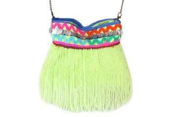Picture of Beaded waterfall messenger's bag in lime L 24 * W 22 cm