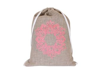 Picture of Mushreq embroidery in pink on a linen backpack..L 52 * w 40