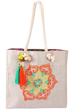 Picture of Mushreq tote in orange and aqua with colorful waterproof inner lining. L 45 * w 45 cm