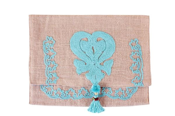 Picture of Soft to the touch envelope style clutch with aqua embroidery...L 25 * w  35