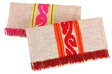 Picture of Lightweight linen clutches with vibrant colored details. The beaded fringes add a popular touch of style. L 16 * W 29